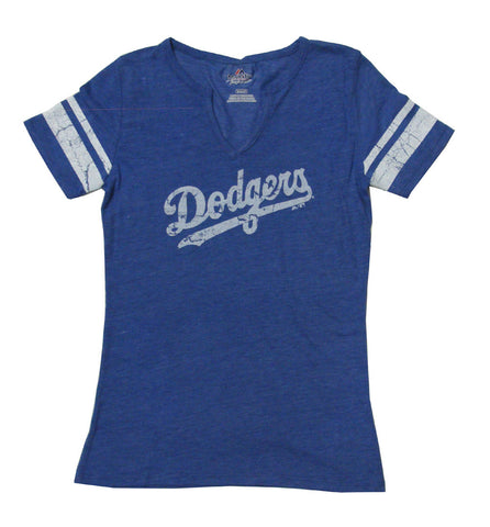 Los Angeles Dodgers Womens Tri-Blend Notch V-Neck T-Shirt Blue