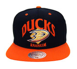 Anaheim Ducks Snapback Mitchell & Ness Grand Arch Cap Hat Black Orange