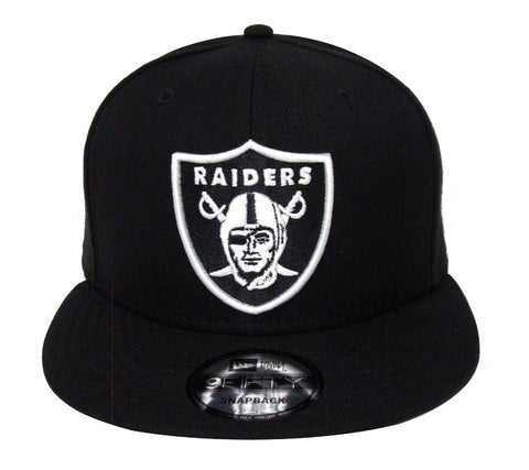 Oakland Raiders Snapback New Era 9Fifty Black & White Logo Cap Hat Black