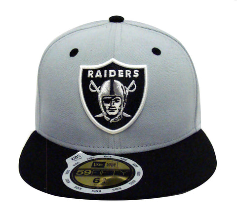Oakland Raiders Fitted Kids New Era 59Fifty Logo Cap Hat Grey Black