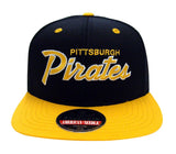 Pittsburgh Pirates Snapback Retro Script 2 Tone Cap Hat Black Yellow