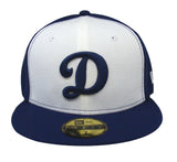 Los Angeles Dodgers Fitted New Era 59FIFTY Big D Cap Hat Tri Blue White