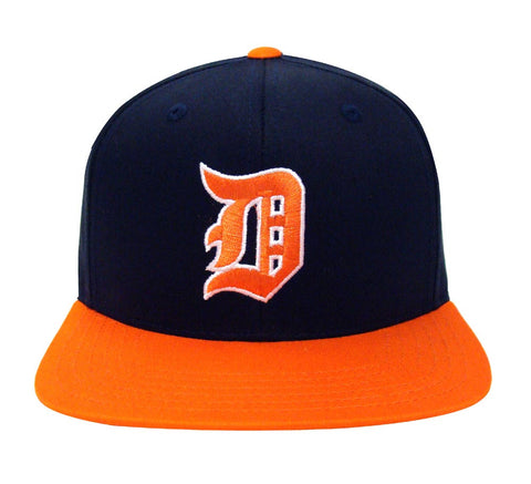 Detroit Tigers Snapback American Needle Retro Logo Cap Hat 2 Tone Navy Orange