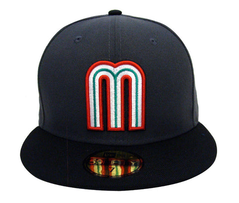 Mexico Fitted New Era 59FIFTY World Baseball Classics Cap Hat Charcoal Black