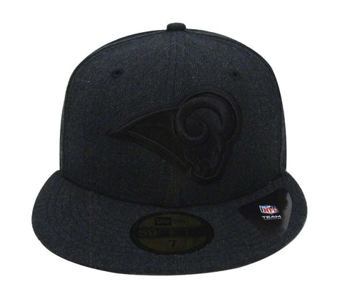 Los Angeles Rams Fitted New Era Total Tone Cap Hat Heather Black