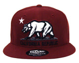 California Republic Snapback Whang Bear Cap Hat Burgundy