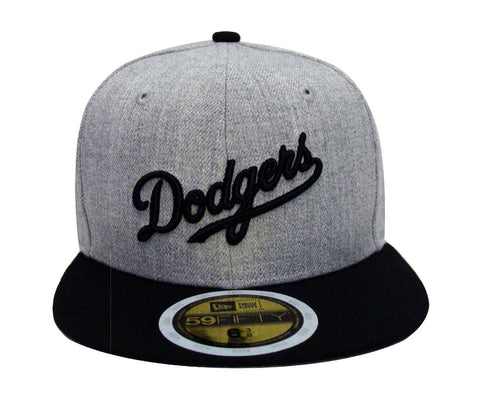 Los Angeles Dodgers Fitted Kids New Era 59FIFTY Wordmark Cap Hat Grey Wool Black