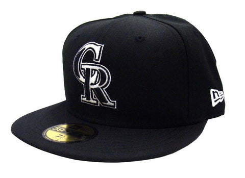 Colorado Rockies Fitted New Era 59Fifty Black & White Logo Cap Hat Black