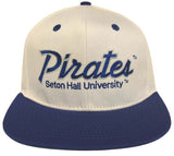 Seton Hall University Pirates Snapback Retro 2 Tone Script Cap Hat White Blue