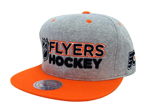Philadelphia Flyers Snapback Mitchell & Ness Heather Jersey Cap Hat Grey Orange