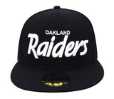 Oakland Raiders Fitted New Era White Script Cap Hat Black