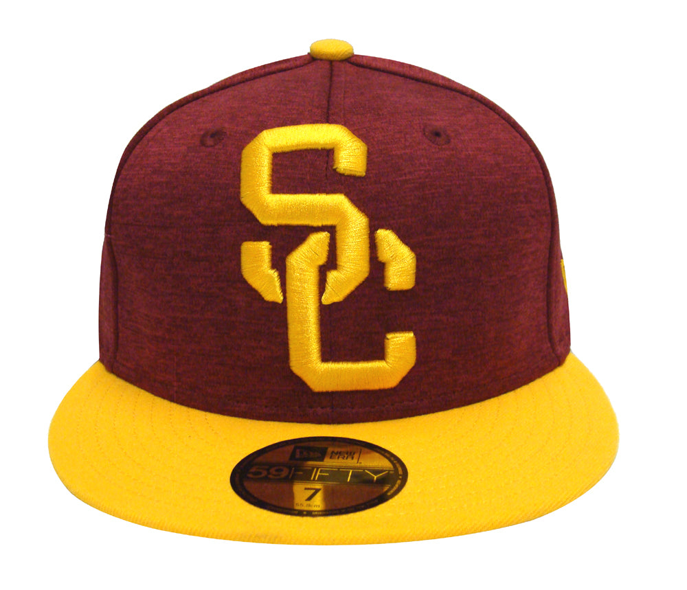 7763eca49be USC Trojans Fitted New Era Heather Huge Cap Hat Burgundy Yellow ...
