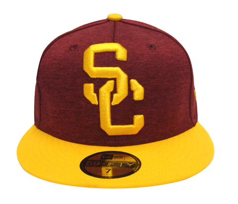 USC Trojans Fitted New Era Heather Huge Cap Hat Burgundy Yellow