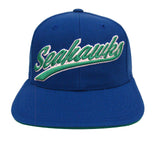 Seattle Seahawks Snapback Retro Vintage Script Cap Hat Blue