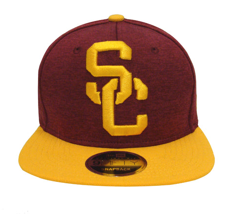 USC Trojans Snapback New Era Heather Huge Cap Hat Burgundy Yellow