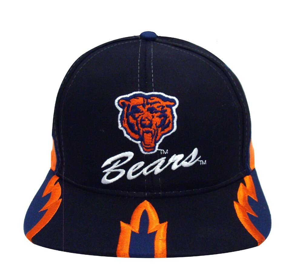 Chicago Bears Snapback Retro Vintage Name   Logo Cap Hat Black – THE ... 5b9faed862ff