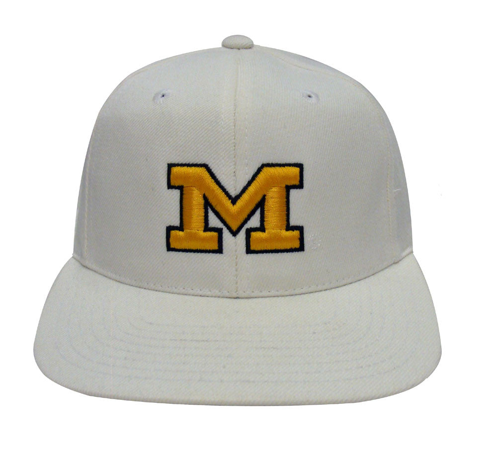 Michigan Wolverines Snapback Retro Vintage Logo Cap Hat White – THE ... 87d21af5af9