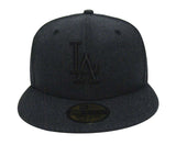 Los Angeles Dodgers Fitted New Era 59Fifty Total Tone Cap Hat Heather Black