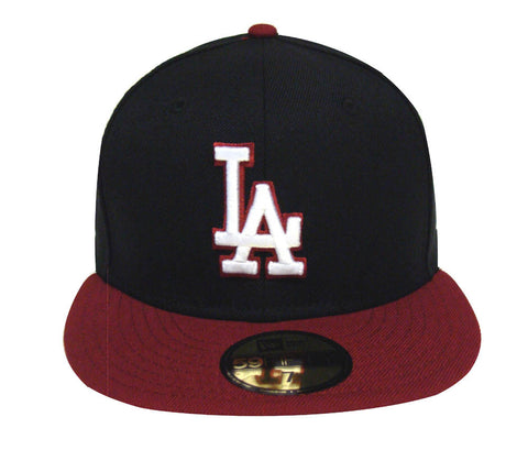 Los Angeles Dodgers Fitted New Era 59Fifty Logo Cap Hat Black Burgundy