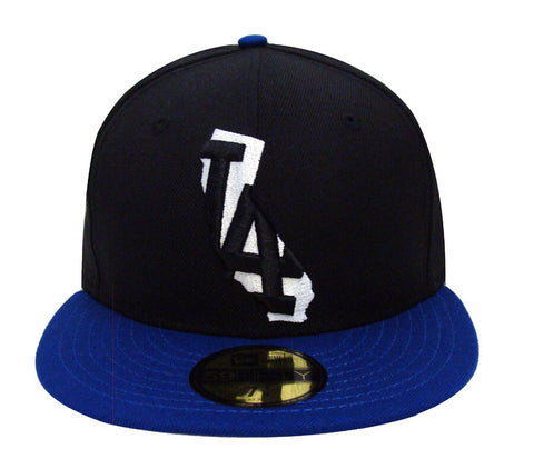 Los Angeles Dodgers Fitted New Era 59FIFTY State Logo Cap Hat Black Blue