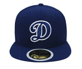 Los Angeles Dodgers Fitted Kids New Era 59FIFTY Blue D White Out Cap Hat Blue