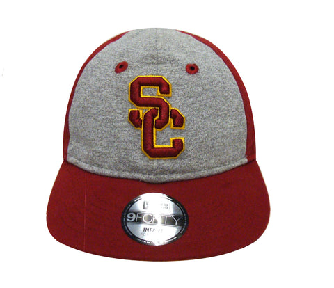 USC Trojans Elastic Strap Infant New Era Heather Tot Cap Hat Burgundy Grey