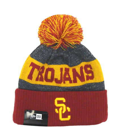 USC Trojans Beanie New Era Sport Knit Cuffed Hat with Pom Charcoal Burgundy