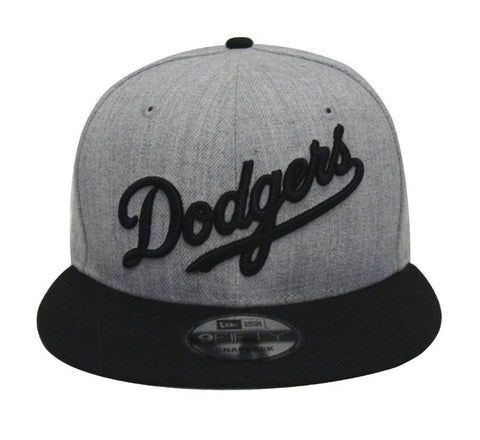 Los Angeles Dodgers Snapback New Era Wordmark Cap Hat Grey Wool Black