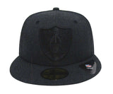 Oakland Raiders Fitted New Era Total Tone Cap Hat Heather Black