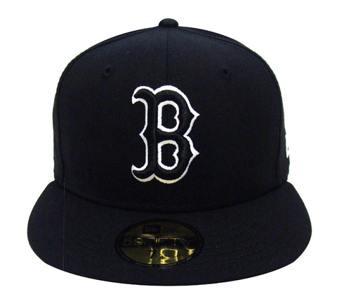 Boston Red Sox Fitted New Era 59Fifty Black Logo White Outline Cap Hat Black