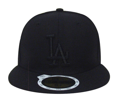 Los Angeles Dodgers Kids Fitted New Era 59FIFTY Black on Black Cap Hat