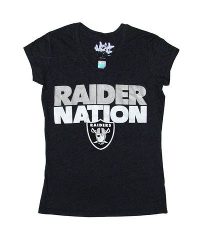 Oakland Raiders Womens Touch RAIDER NATION V-Neck T-Shirt Black