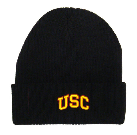 USC Trojans Beanie USC Embroidered Knit Cap Fold Black