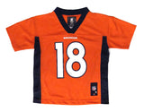 Denver Broncos #18 Manning Kids 4-7 Orange Name & Number Jersey