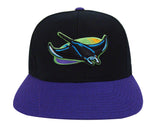 Tampa Bay Rays Snapback Retro Vintage Word Back Cap Hat Black Purple