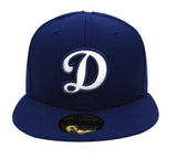 Los Angeles Dodgers Fitted New Era 59Fifty White D Blue Outline Cap Hat Blue