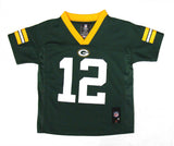 Green Bay Packers #12 Rodgers Kids 4-7 Green Name & Number Jersey