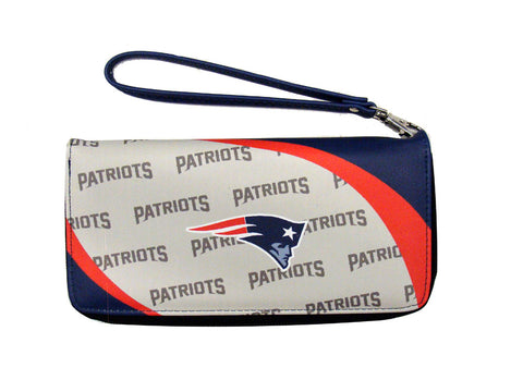 New England Patriots Womens Wallet Curve Zip Organizer