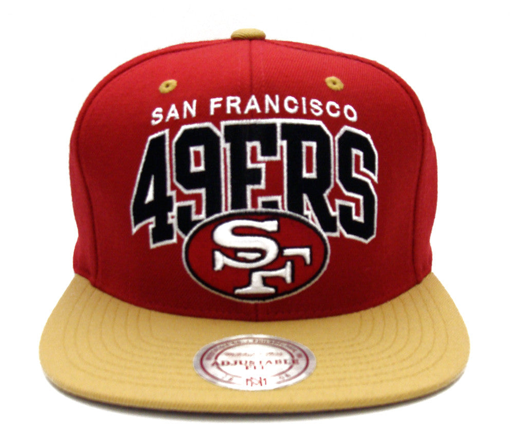 San Francisco 49ers Snapback Mitchell   Ness Block Hat Red Gold ... d80074214df9