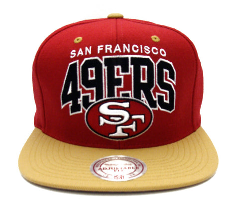0f31e9be2 San Francisco 49ers Snapback Mitchell & Ness Block Hat Red Gold