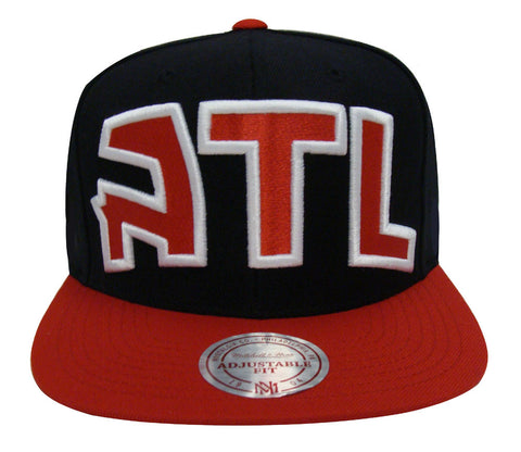 Atlanta Hawks Snapback Mitchell & Ness XL Logo Cap Hat Black Red New