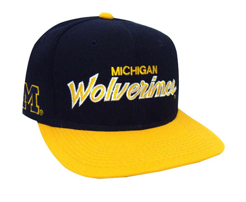Michigan Wolverines Snapback Retro Vintage Script Cap Hat Navy Yellow
