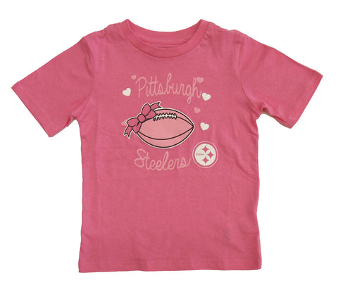 "Pittsburgh Steelers Kids Girls ""Sunday Best"" T-Shirt Pink"