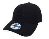 Los Angeles Dodgers Velcro Adjustable New Era 9Forty The League Cap Hat Black on Black