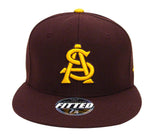 Arizona State Sun Devils Fitted Retro Vintage Logo Cap Hat Burgundy Size 7 7/8