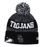 USC Trojans Beanie New Era 2017 Sport Knit Black & White Cuffed Pom Cap