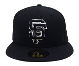 San Francisco Giants Fitted New Era 59Fifty Black Logo White Outline Cap Hat Black