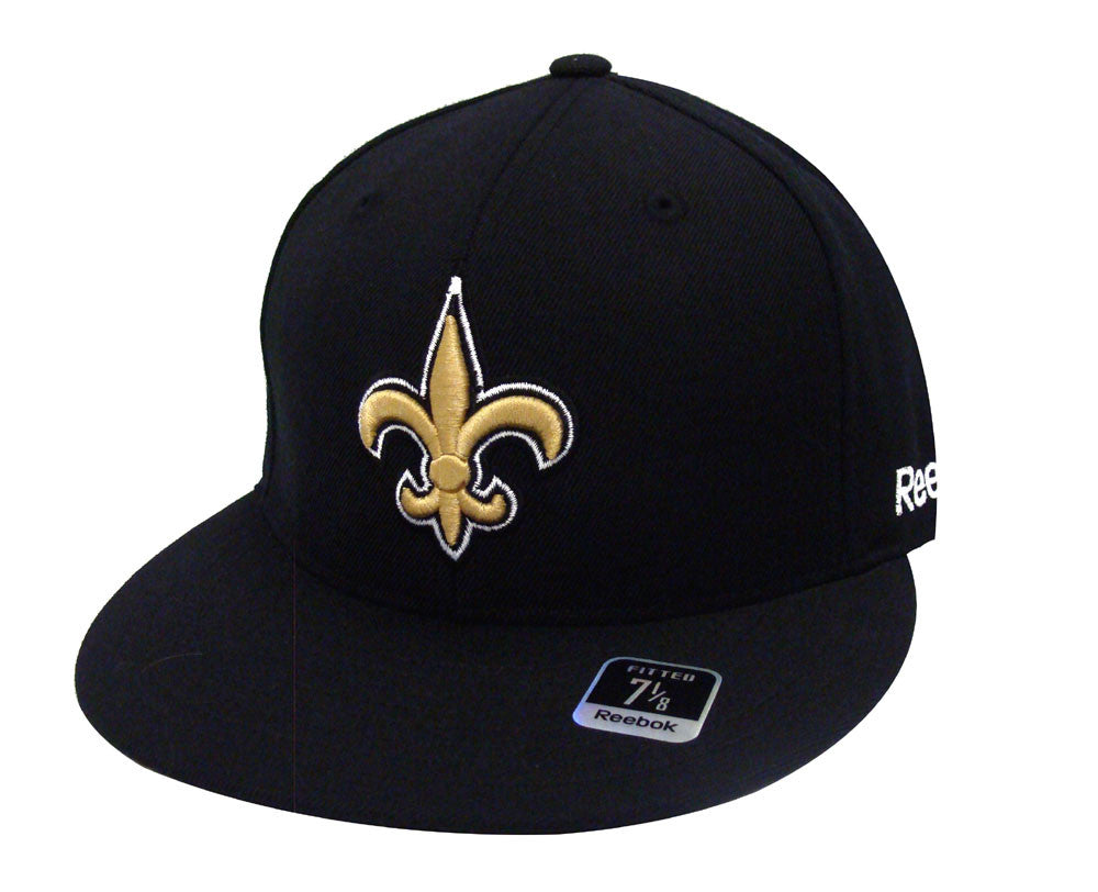 7042c2d24ec New Orleans Saints Fitted Reebok Logo Cap Hat Black Size 7 1 8 – THE ...