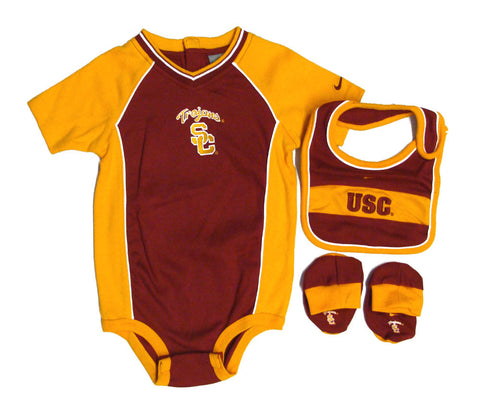 USC Trojans Infant Nike 3-Piece Onesie, Bib & Booties Set