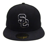 USC Trojans Fitted New Era Black Logo White Outline Cap Hat Black